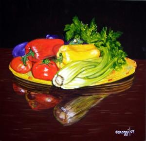 Canestro di verdura [2007] - Acrilico su supporto telato (40 x 50 cm)