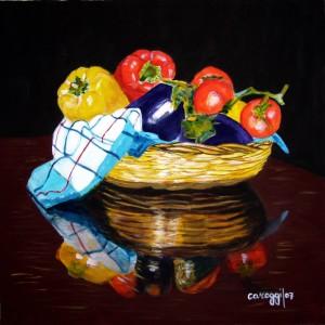Cesto di verdura [2007] - Olio su tela (50 x 50 cm) - Collezione privata -