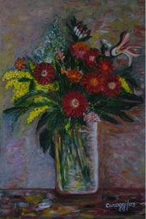 Fiori in vaso di vetro [2003] - Acrilico su compensato (40 x 60 cm) - Collezione privata -