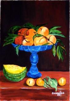 Fruttiera con pesche [2006] - Acrilico su tela (35 x 50 cm) - Collezione privata -
