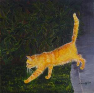 Gatto in perlustrazione (notturna) [2007] - Acrilico su tela (50 x 50 cm)