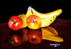 Mele e banane in riflesso [2007] - Olio su supporto telato (50 x 35 cm)