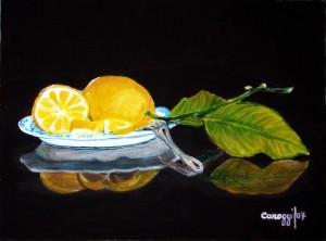 Piatto con limoni [2007] - Acrilico su compensato (40 x 60 cm)