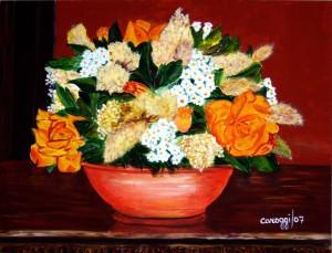 Vaso di fiori secchi [2007] - Acrilico su compensato (55,5 x 42,5 cm)