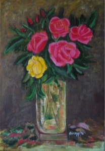 Vaso di rose [2010] - Acrilico su tela (35 x 50 cm) - Collezione privata -