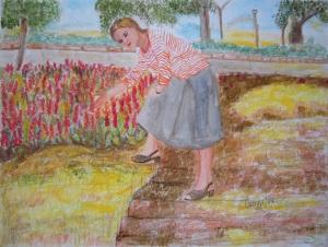 Aiuola fiorita [1987] - Pastello su cartoncino (32 x 24 cm)