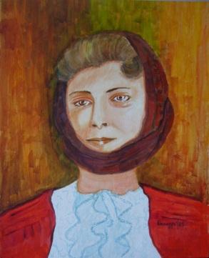 Donna con bènda (NU) [1989] - Acrilico su cartoncino (24 x 29 cm)