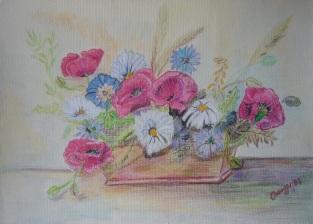 Fiori di campo [1987] - Pastello su cartoncino (25 x 35 cm)