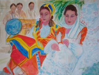 Sfilata di carri folkloristici [1987] - Acquerello su cartoncino (32 x 24 cm)