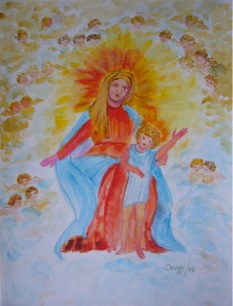 SS. Vergine col Bambino [1987] - Pastello su cartoncino (24 x 30 cm)