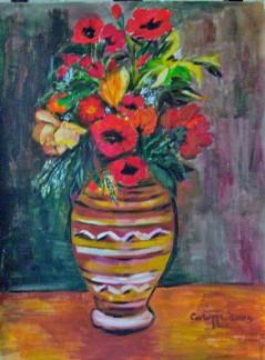 Vaso con papaveri [2005] - Acrilico su cartoncino (30 x 40 cm) - Collezione privata -