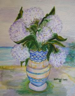 Vaso di fiori [2005] - Acquerello su cartoncino (29,5 x 38 cm)