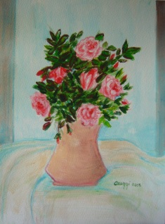 Vaso di rose [2005] - Acquerello su cartoncino (29,5 x 40,5 cm)