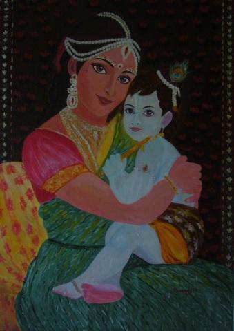 Yasoda e Krsna [2011] - Acrilico su tela Gallery (70 x 100 cm)
