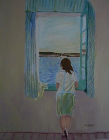 Muchacha en la ventana - Acrilico su tela Gallery (80 x 100 cm, 2014) - [Collezione privata]