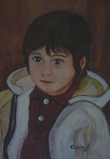 Ritratto Giò [2003] - Olio su supporto telato (20,6 x 31,2 cm)