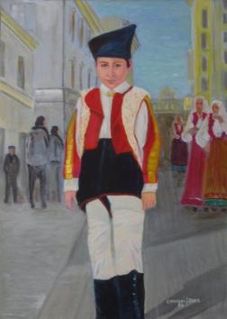 Bambino in costume sardo [2006] - Acrilico su tela (50 x 70 cm)