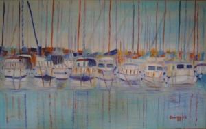 Le barche di Su Siccu [2003] -Acrilico su tela (80 x 50 cm)