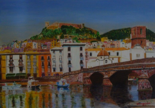 Bosa, Ponte Vecchio [2015] - Acrilico su tela Gallery (100 x 70 cm)