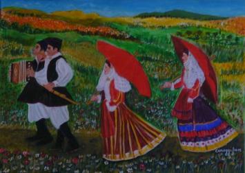 "Festosa passeggiata campestre [2015] - Acrilico su tela (70 x 50 cm)<br /> <span style=""color: #993300;""><em>[Pubblicato su Annuario d'Arte G. Grasso /2016]</em></span>"