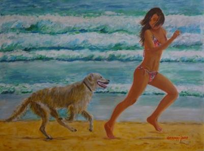 Jogging in riva al mare [2015] - Acrilico su tela Gallery (80 x 60 cm)
