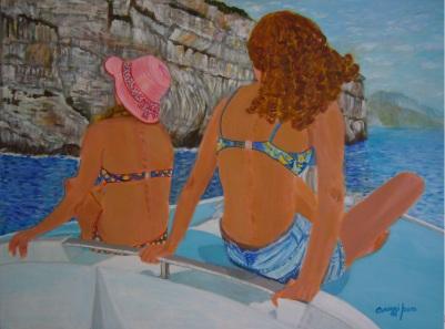 Gita in barca [2015] - Acrilico su tela Gallery (80 x 60 cm)