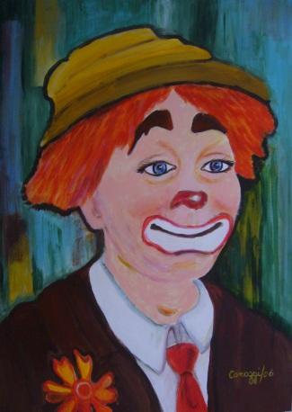 Clown con cravatta rossa [2006] - Acrilico su cartone telato (50 x 70 cm)