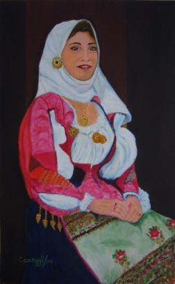 Donna in costume di Nuoro - Acrilico su tela (50 x 80 cm, 2006)