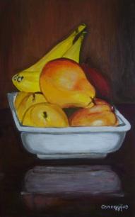Pirofila di frutta [2003] - Acrilico su compensato (31,4 x 50,4 cm)