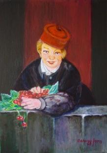 Garçon avec des cerises - Acrilico su cartone telato (35 x 50 cm, 1993)