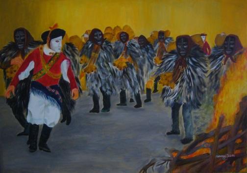 Sagra di Sant'Antonio [2015] - Mamoiada (NU): maschere arcaiche ballano intorno al fuoco - Acrilico su tela Gallery (100 x 70 cm)