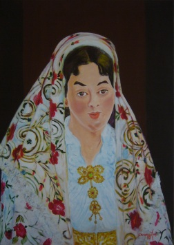 Sposa in costume sardo [2007] -Acrilico su tela (50 x 70 cm)