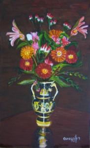 Vaso greco con fiori [2007] - Acrilico su compensato (33,5 x 55 cm)