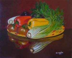 Canestro di verdura [2011] - Acrilico su cartone telato (50 x 40 cm)