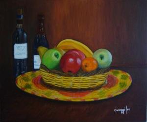 Cesto di canna con frutta [2011] - Acrilico su compensato (60 x 50 cm)