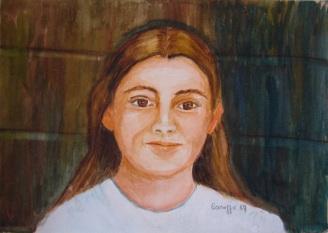 Federica - Acquerello su cartoncino (30 x 21 cm, 1987)