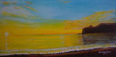 Marina Piccola all'alba - Acrilico su tela (80 x 40 cm, 2015)