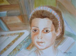 Primo piano di bambina -Acquerello su cartoncino (24 x 32 cm, 1992)