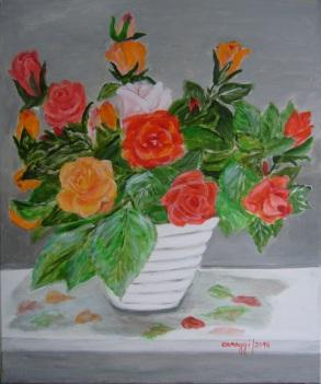 Vaso di Rose - Acrilico su tela (50 x 60, 2016)
