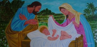 La Sacra Famiglia - Acrilico su tela (80 x 40 cm, 2016)