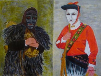 Mamuthone & Issohadore [2015] - Maschere del carnevale barbaricino - Acrilico su tela Gallery (80 x 60 cm)
