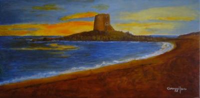 Marina di Bari Sardo al tramonto - Acrilico su tela (80 x 40 cm, 2016)