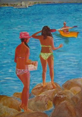 Donne al mare [2016] - Acrilico su tela (50 x 70 cm)