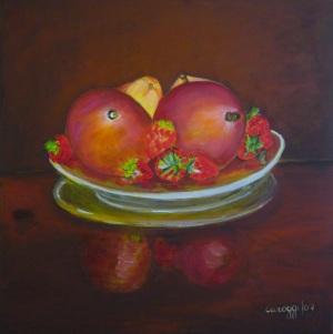 Manghi con fragole [2007] - Acrilico su tela (50 x 50 cm)