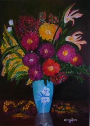 Vaso di fiori misti con mimose - Acrilico su tela (50 x 70 cm, 2016)