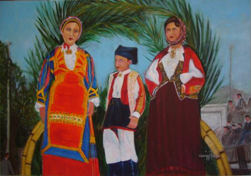 Cavalcata Sarda (gruppo su carro) [2006] - Acrilico su tela (100 x 70 cm)