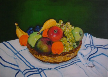 Cesto di frutta mista - Acrilico su tela (70 x 50 cm, 2007)