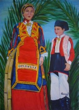 Donna (in costume) di Desulo con bambino - Acrilico su tela (50 x 70 cm, 2006)