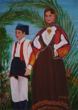 Donna (in costume) di Orani con bambino - Acrilico su tela (50 x 70 cm, 2006)