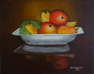 Fruttiera [2007] - Acrilico su cartone telato (50 x 40 cm)
